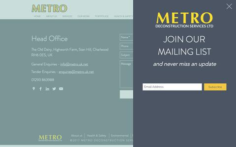Screenshot of Contact Page metrodeconstruction.com - Contact | Metro Deconstruction Services Ltd - captured Oct. 18, 2018