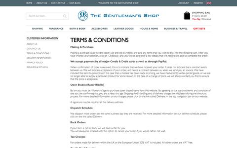 Screenshot of Terms Page gentlemans-shop.com - Terms & Conditions - captured Nov. 4, 2014