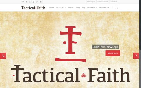 Screenshot of Home Page tacticalfaith.com - Equipping the church for apologetics and theological training. - captured Dec. 6, 2016