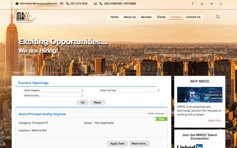 Screenshot of Jobs Page mrccsolutions.com - Careers - Current Openings - captured Nov. 17, 2016
