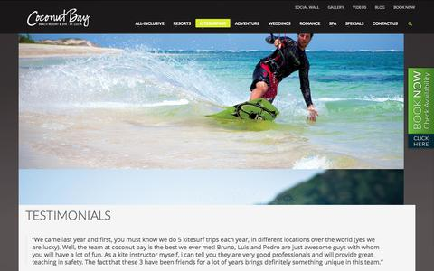 Screenshot of Testimonials Page cbayresort.com - Kitesurfing Holiday Reviews - St Lucia Coconut Bay Resort & Spa - captured Sept. 24, 2014