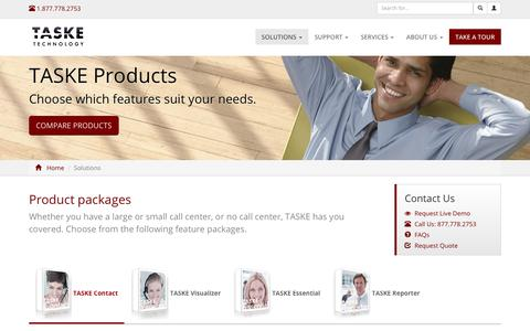 Screenshot of Products Page taske.com - Call Management Software Products for Contact Centers and Businesses by TASKE Technology - captured Nov. 14, 2017