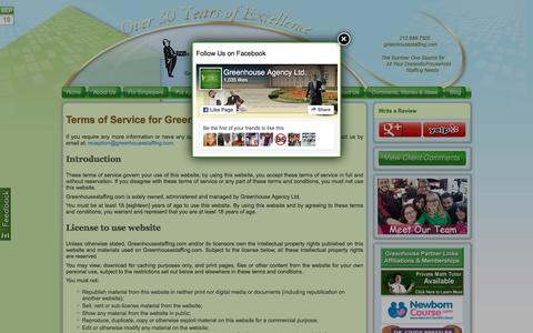 Screenshot of Terms Page greenhousestaffing.com - The #1 Domestic Staffing & Household Employment Agency | Greenhouse Agency: Terms of Service – Number One Domestic Staffing Services - captured Sept. 20, 2017