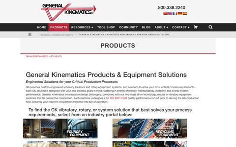 Screenshot of Products Page generalkinematics.com - Vibration Equipment Solutions & Products | General Kinematics - captured Nov. 4, 2016