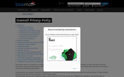 Screenshot of Privacy Page tswmall.com - tswmall�  | Entertainment, E-commerce & Gaming in 3D by TSW - Discover tswmall3D - captured Nov. 23, 2015