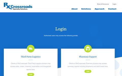 Screenshot of Login Page rxcrossroads.com - Login | RxCrossroads - captured Sept. 24, 2018