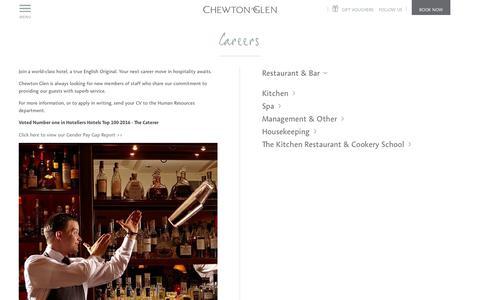 Screenshot of Jobs Page chewtonglen.com - Luxury Hotel Jobs in Hampshire | Chewton Glen Hotel and Spa - captured July 17, 2018