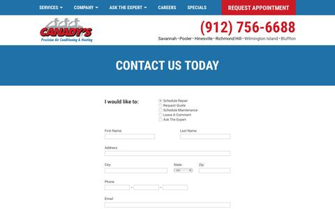 Screenshot of Contact Page canadys.com - Contact | (912) 756-6688 | Savannah, Pooler, Hinesville | Canady's - captured Sept. 26, 2018