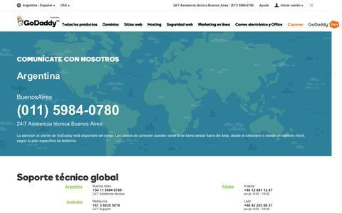 Screenshot of Contact Page godaddy.com - Asistencia técnica global de GoDaddy | Contáctenos – GoDaddy Argentina - captured April 10, 2016