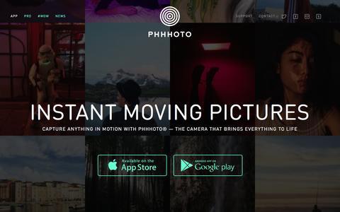 Screenshot of Home Page phhhoto.com - PHHHOTO® - Instant Moving Pictures - captured Feb. 8, 2016