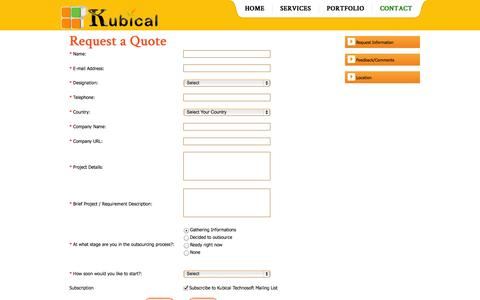 Screenshot of Contact Page kubicals.com - Contact - Kubical Technosoft - captured Oct. 27, 2014