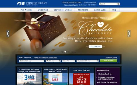 Screenshot of Home Page princess.com - Cruise Vacations - Deals on Cruises | Princess Cruise Line - captured Sept. 18, 2014