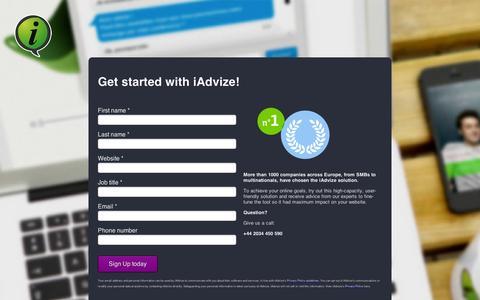 Screenshot of Signup Page iadvize.com - Sign up iAdvize - captured Sept. 12, 2014