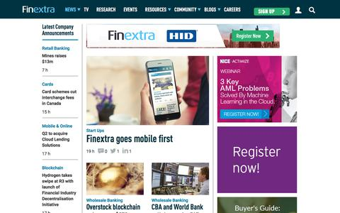 Screenshot of Home Page finextra.com - Finextra Research: Latest financial technology news, analysis, interviews and features. - captured Aug. 11, 2018