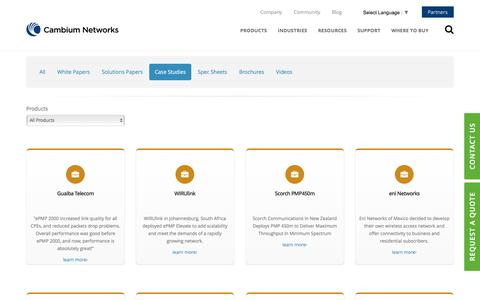 Screenshot of Case Studies Page cambiumnetworks.com - Cambium Networks Resources - captured May 14, 2017