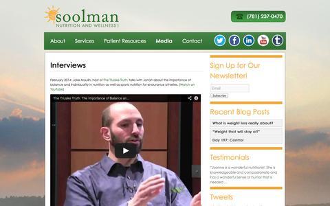 Screenshot of Press Page soolmannutrition.com - Media | Soolman Nutrition and Wellness LLC - captured Oct. 6, 2014