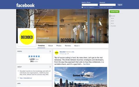 Screenshot of Facebook Page facebook.com - Decoded - London, United Kingdom - Education | Facebook - captured Nov. 3, 2014