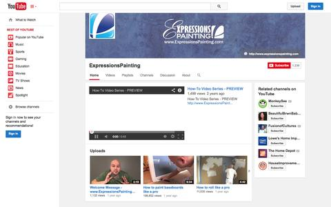 Screenshot of YouTube Page youtube.com - ExpressionsPainting  - YouTube - captured Oct. 23, 2014