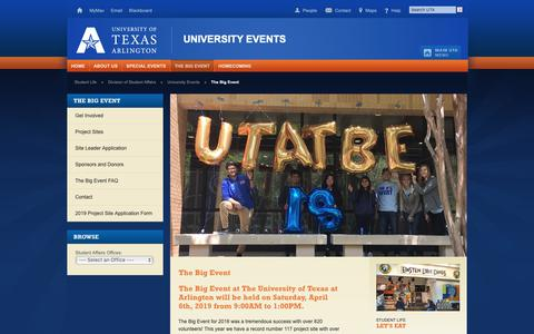 Screenshot of Signup Page uta.edu - The Big Event - University Events - UT Arlington - captured March 30, 2019