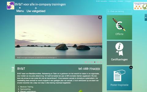 Screenshot of Home Page Menu Page bvtopleiding.nl - BVenT trainingen en opleidingen : locatie incompany kennis moet beklijven bedrijfscursus - captured Oct. 11, 2014