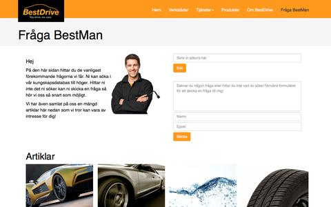 Screenshot of FAQ Page bestdrive.se - Fråga BestMan - captured Nov. 22, 2016