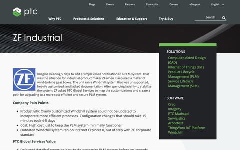 Screenshot of Case Studies Page ptc.com - ZF Industrial | PTC - captured Nov. 13, 2018