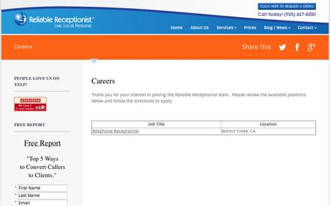 Screenshot of Jobs Page reliablereceptionist.com - Careers - Reliable Receptionist - captured Oct. 26, 2014