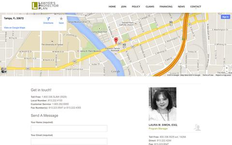 Screenshot of Contact Page lppinsurance.com - Lawyer's Protector Plan   – Contact - captured Oct. 2, 2014