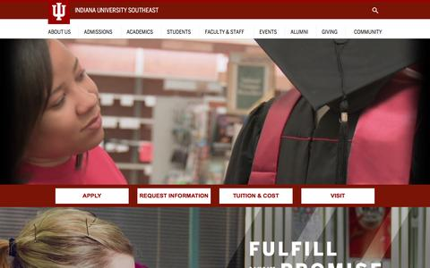 Screenshot of Home Page ius.edu - IU Southeast : Indiana University Southeast - captured Dec. 17, 2015