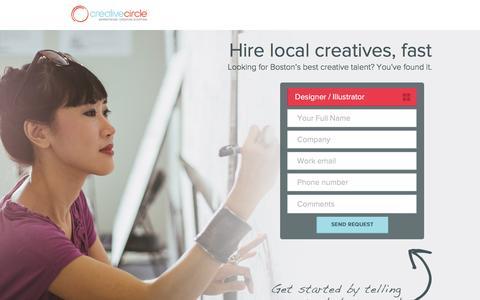 Screenshot of Landing Page creativecircle.com - Creative Circle - Boston - captured Dec. 21, 2015