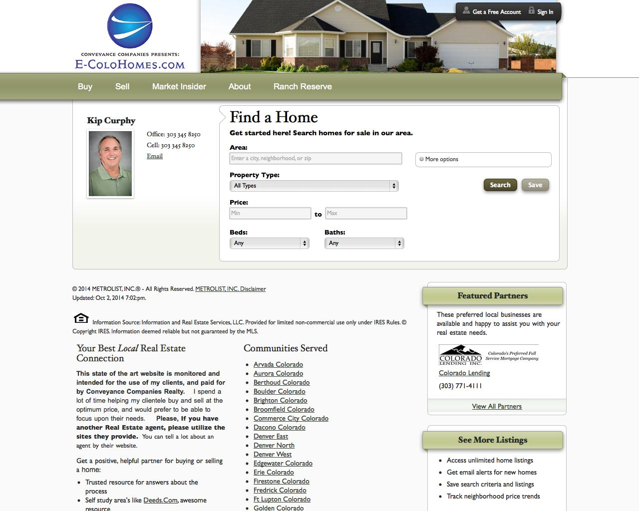 Screenshot of conveyanceco.com - Denver and the Front Range Homes for Sale - captured Oct. 3, 2014