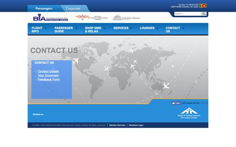Screenshot of Contact Page airport.lk captured Nov. 12, 2018