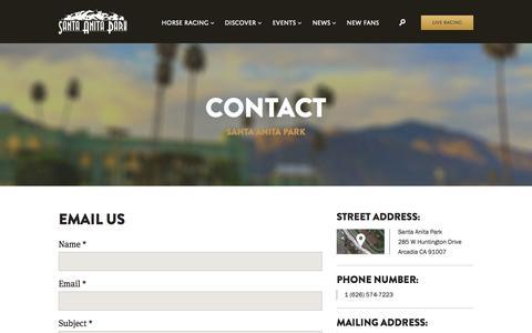 Screenshot of Contact Page santaanita.com - Contact - Santa Anita Park - captured Oct. 31, 2014
