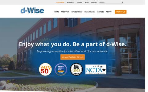 Screenshot of Jobs Page d-wise.com - Healthcare Technology & Life Science Practice Careers | d-Wise - captured Jan. 8, 2016