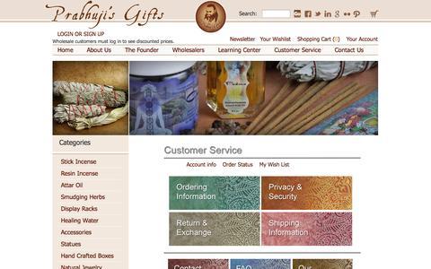 Screenshot of Support Page prabhujisgifts.com - Customer Service - captured Sept. 30, 2014