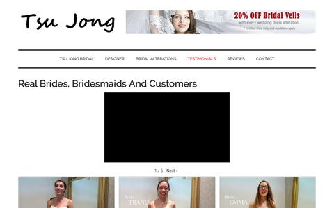 Screenshot of Testimonials Page tsujong.com - Real Brides, Bridesmaids And Customers | Tsu Jong Bridal - captured Oct. 18, 2018
