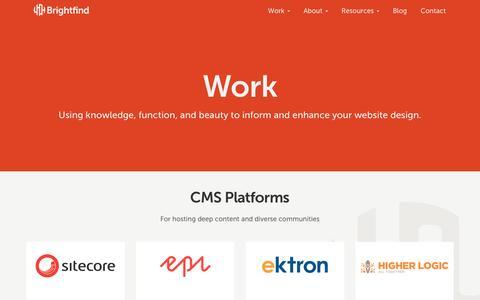 Screenshot of Services Page brightfind.com - Work - captured Feb. 20, 2017