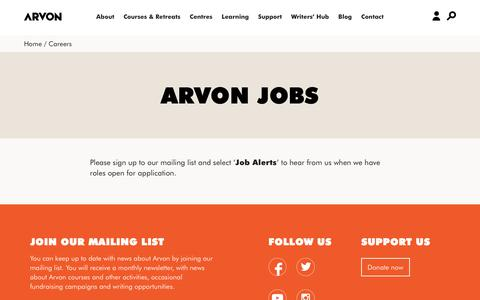 Screenshot of Jobs Page arvon.org - Arvon | residential creative writing courses and retreats UK - captured Nov. 13, 2018