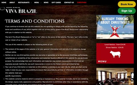 Screenshot of Terms Page vivabrazilrestaurants.com - Terms and Conditions Viva Brazil Brazilian Restaurants - captured Oct. 7, 2014