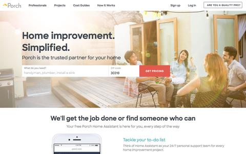 Screenshot of Home Page Signup Page Login Page porch.com - Porch | Find the Best Rated Local Home Improvement Professionals - captured Oct. 25, 2017