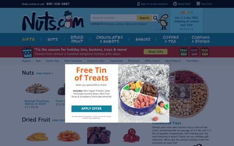 Screenshot of Home Page nuts.com - Nuts.com: Premium Bulk Nuts, Dried Fruit, Healthy Snacks, and Gifts - captured Dec. 6, 2018