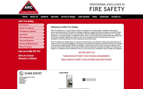 Screenshot of Home Page arcfiresafety.co.uk - ARC Fire Safety | fire alarms, security and other related systems - captured Oct. 4, 2014