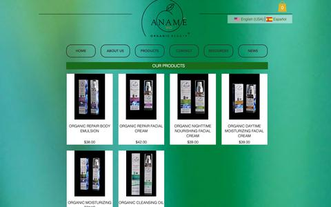 Screenshot of Products Page anamevio.com - anamevio | PRODUCTS - captured Oct. 19, 2018
