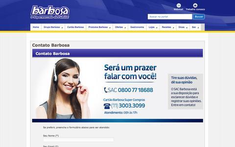 Screenshot of Contact Page barbosasupermercados.com.br - Fale Conosco - captured Dec. 30, 2015