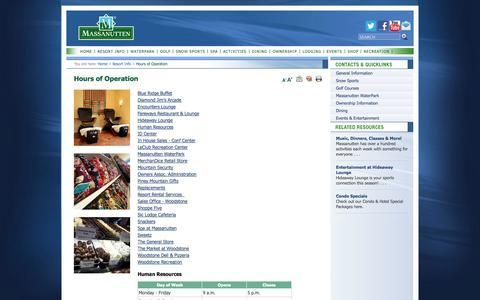 Screenshot of Hours Page massresort.com - Massanutten Resort: Hours of Operation - captured Sept. 18, 2014
