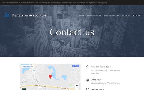 Screenshot of Contact Page kenerson.com - Contact :: Kenerson Associates - captured Oct. 15, 2018