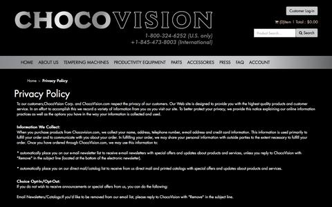 Screenshot of Privacy Page chocovision.com - Privacy Policy - captured July 17, 2018