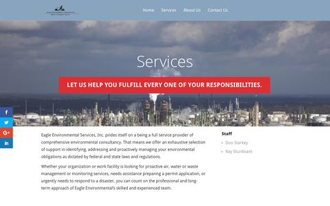Screenshot of Services Page eaglered.com - Services | Eagle Environmental Services, Inc. - captured July 12, 2017