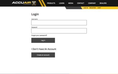 Screenshot of Login Page accuair.com - User account - AccuAir Suspension - captured Sept. 25, 2014