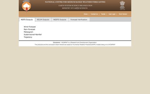 Screenshot of Products Page ncmrwf.gov.in - National Centre for Medium Range Weather Forecasting (NCMRWF) - captured Oct. 7, 2014